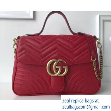 Gucci GG Marmont Medium Top Handle Bag 498109 Red