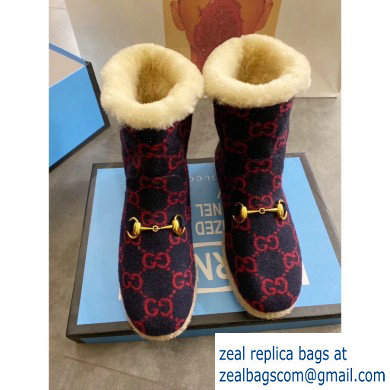Gucci GG Wool Ankle Boots Dark Blue 2019