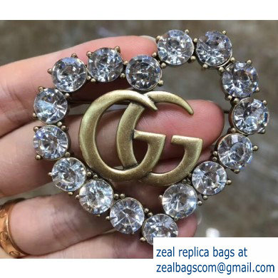 Gucci Heart Double G Brooch with White Crystal 2019