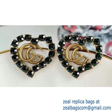 Gucci Heart Double G Earrings with Green Crystal 2019