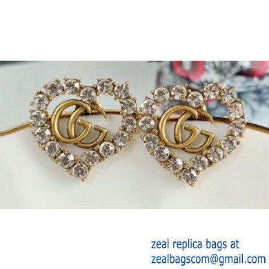 Gucci Heart Double G Earrings with White Crystal 2019