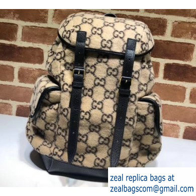 Gucci Small GG Wool Backpack Bag 598184 Beige 2019