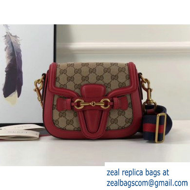 Gucci Small Lady Web gg canvas Shoulder Bag In red 384821