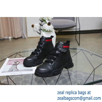 Gucci Web Leather and Logo High-top Sneakers Black 2019