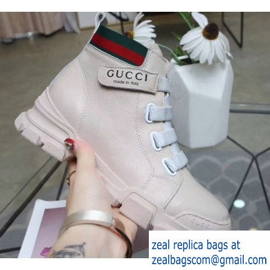 Gucci Web Leather and Logo High-top Sneakers Creamy 2019