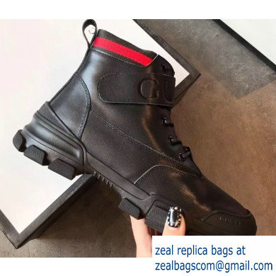 Gucci Web Leather and Logo Shearling High-top Sneakers Black 2019