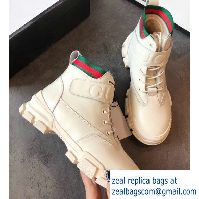 Gucci Web Leather and Logo Shearling High-top Sneakers Creamy 2019