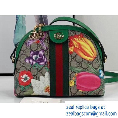 Gucci Web Ophidia GG Flora Print Small Shoulder Bag 499621 Green