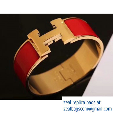 Hermes Clic Clac H Wide Bracelet Red/Yellow Gold