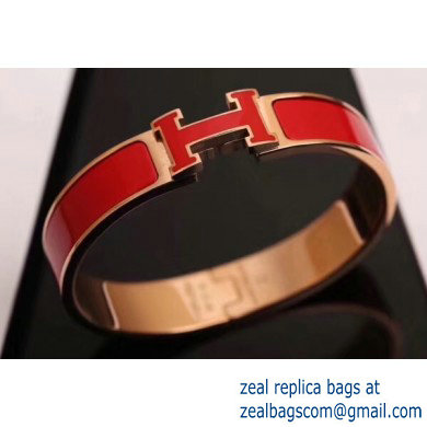 Hermes Clic H Narrow Bracelet Red/Pink Gold