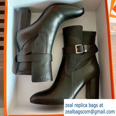 Hermes Songe Heel Ankle Boots Leather Black with Wrap-Around Strap 2019