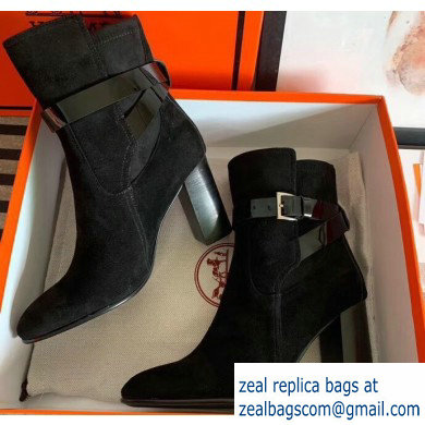 Hermes Songe Heel Ankle Boots Suede Black with Wrap-Around Strap 2019