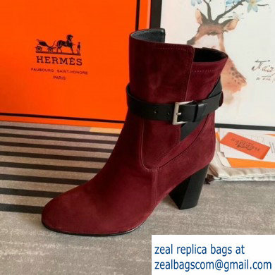 Hermes Songe Heel Ankle Boots Suede Burgundy with Wrap-Around Strap 2019
