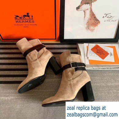 Hermes Songe Heel Ankle Boots Suede Camel with Wrap-Around Strap 2019