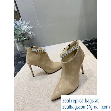 Jimmy Choo Heel 9.5cm Patent Leather Ankle Boots Beige with Crystal Strap 2019