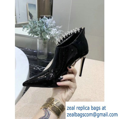 Jimmy Choo Heel 9.5cm Patent Leather Ankle Boots Black with Crystal Strap 2019
