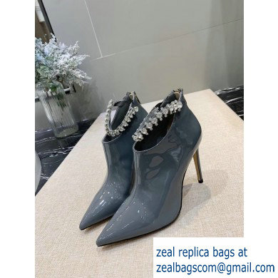 Jimmy Choo Heel 9.5cm Patent Leather Ankle Boots Gray with Crystal Strap 2019