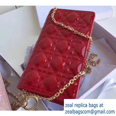 Lady Dior Rectangular Shape Clutch Bag in Cannage Patent Red 2019