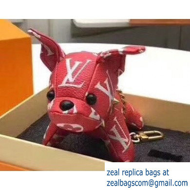 Louis Vuitton Dog Bag Charm and Key Holder Red
