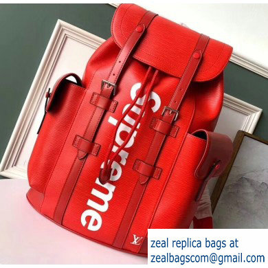 Louis Vuitton Epi Patchwork Christopher PM Backpack Bag Supreme Red