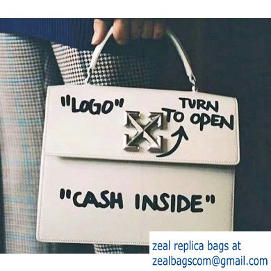 Off-White CASH INSIDE Print Jitney Top Handle Large Bag White 2019