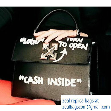Off-White CASH INSIDE Print Jitney Top Handle Medium Bag Black 2019