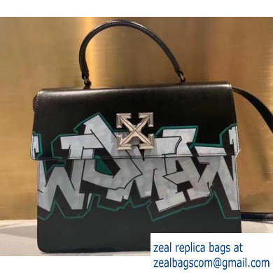 Off-White Graffiti Print Jitney Top Handle Large Bag Black 2019