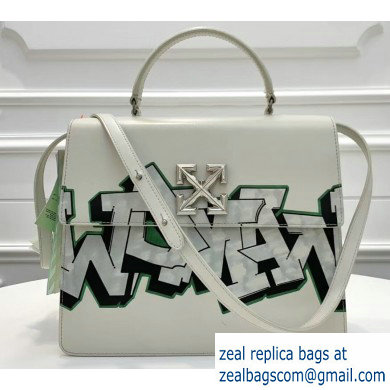 Off-White Graffiti Print Jitney Top Handle Large Bag White 2019