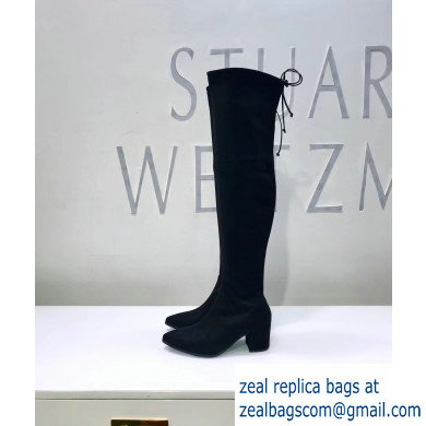 Stuart Weitzman Heel 6.5cm Thighland Pointed Toe Over-the-knee Boots Black