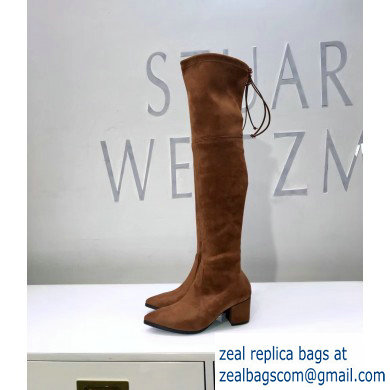 Stuart Weitzman Heel 6.5cm Thighland Pointed Toe Over-the-knee Boots Caramel