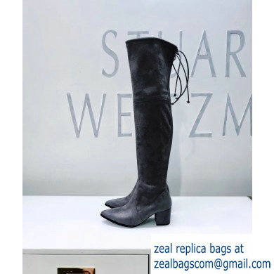 Stuart Weitzman Heel 6.5cm Thighland Pointed Toe Over-the-knee Boots Gray