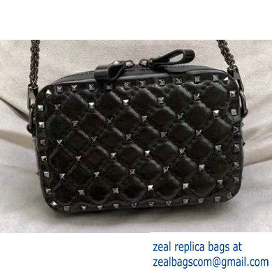 Valentino Rockstud Spike Camera Case Bag 0060 Crinkled Black