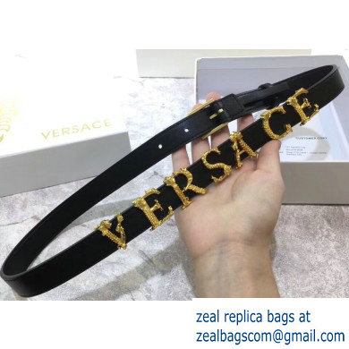 Versace Width 2cm Leather Belt with Barocco Logo
