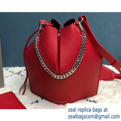Alexander Mcqueen Calf Leather The Bucket Bag Red
