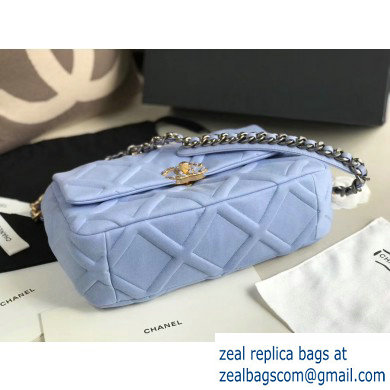 Chanel 19 Large Jersey Flap Bag AS1161 Baby Blue 2020