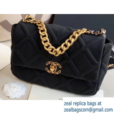 Chanel 19 Large Jersey Flap Bag AS1161 Black 2020