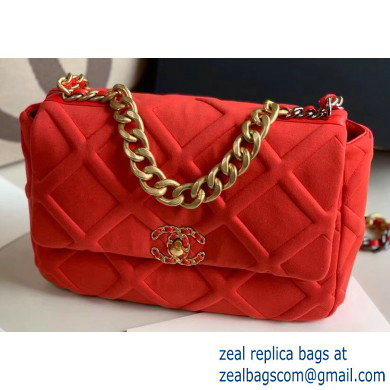 Chanel 19 Large Jersey Flap Bag AS1161 Red 2020