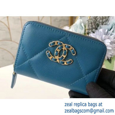Chanel 19 Leather Zipped Coin Purse AP0949 Dark Turquoise 2020