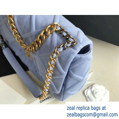 Chanel 19 Maxi Jersey Flap Bag AS1162 Baby Blue 2020
