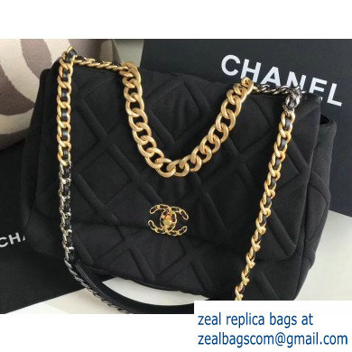 Chanel 19 Maxi Jersey Flap Bag AS1162 Black 2020