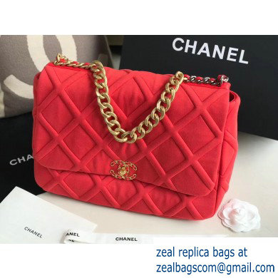 Chanel 19 Maxi Jersey Flap Bag AS1162 Red 2020