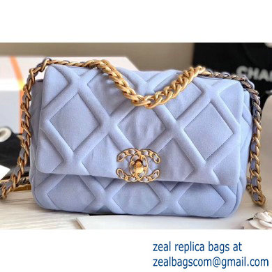 Chanel 19 Small Jersey Flap Bag AS1160 Baby Blue 2020