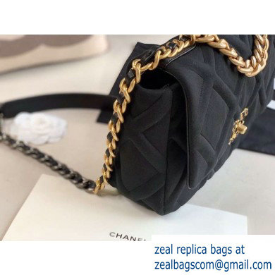 Chanel 19 Small Jersey Flap Bag AS1160 Black 2020
