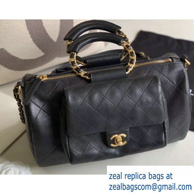 Chanel Bowling Duffel Bag with Circle Handle AS1359 Black 2020