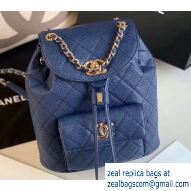 Chanel Caviar Leather Vintage Duma Backpack Bag AS1371 Navy Blue 2020