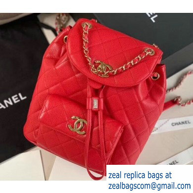 Chanel Caviar Leather Vintage Duma Backpack Bag AS1371 Red 2020