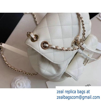 Chanel Caviar Leather Vintage Duma Backpack Bag AS1371 White 2020
