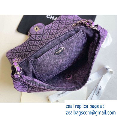 Chanel Denim Large Classic Flap Bag Purple 2020