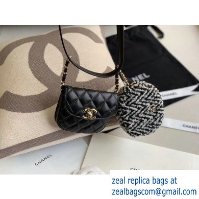Chanel Lambskin and Tweed Waist Bag and Coin Purse AP0743 Black 2020
