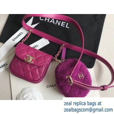 Chanel Lambskin and Tweed Waist Bag and Coin Purse AP0743 Fuchsia 2020